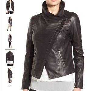 NWOT Trouve Black Leather Draped Moto Jacket